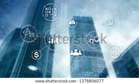 Business process automation concept on blurred background. #1378806077