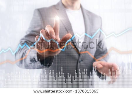 Business Financial Trading Investment concept graph virtual screen double exposure. #1378813865