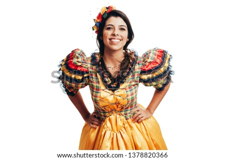 Brazilian woman wearing typical clothes for the Festa Junina - June festival #1378820366