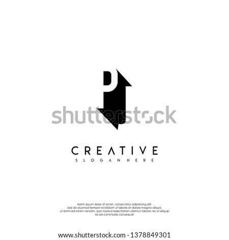 abstract PJ logo letter in shadow shape design concept #1378849301