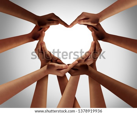 Heart hands as a group of diverse people hands connected together shaped as a love symbol expressing the feeling of being happy and togetherness. Royalty-Free Stock Photo #1378919936