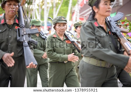 Communist Party of Thailand Organized activities to commemorate those who died in battle In the event, there were flowers and parades.  April 20, 2019, Ban Na San District, Surat Thani Province #1378955921