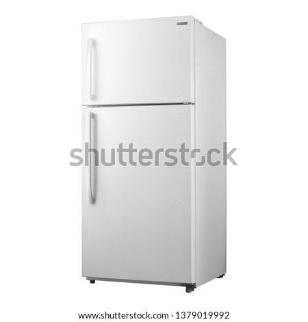 Top Mount Two Door Refrigerator Isolated on White. Full Frost Free Fridge Freezer. Side View of White Side by Side Double Door Refrigerator. Modern Kitchen and Domestic Major Appliances #1379019992