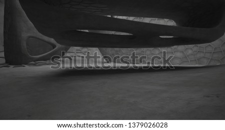 Abstract white and concrete interior. 3D illustration and rendering. #1379026028