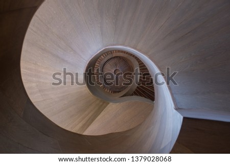 View looking up a spiral staircase #1379028068