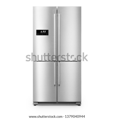 American Style Fridge Freezer Isolated on White. Full Frost Free Freezer. Front View of Stainless Steel Double Door Refrigerator. Modern Kitchen and Domestic Major Appliances #1379040944
