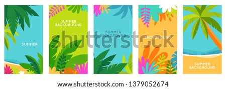 Vector set of social media stories design templates, backgrounds with copy space for text - summer landscape - background for banner, greeting card, poster and advertising - summer vacation concept   #1379052674