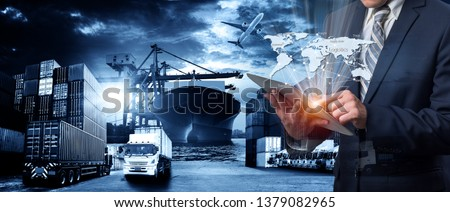 World map with logistic network distribution on background. Logistic and transport concept in front  Container Cargo freight ship for Concept of fast or instant shipping, Online goods orders worldwide #1379082965