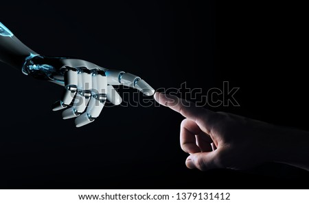 Robot hand making contact with human hand on dark background 3D rendering #1379131412