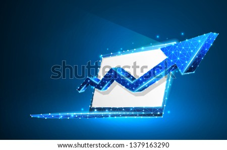 Laptop, arrow up, notebook symbol. White screen. Device, growth, success concept. Abstract, digital, wireframe, low poly mesh, vector neon 3d illustration. Triangle, line, dot, star. Blue background #1379163290