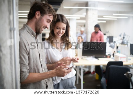 Collaboration and analysis by business people working in office #1379172620