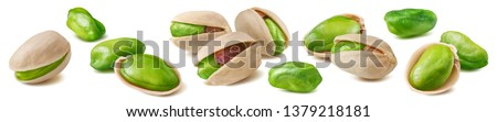 Shelled pistachio nut set isolated on white background. Package design element with clipping path #1379218181