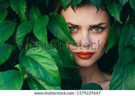 Green leaves female face bright makeup                          #1379229647