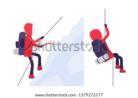 Winter hiking man mountaineering. Male tourist with backpacking gear, wearing bright jacket with attached hood, professional footwear. Vector flat style cartoon illustration isolated, white background