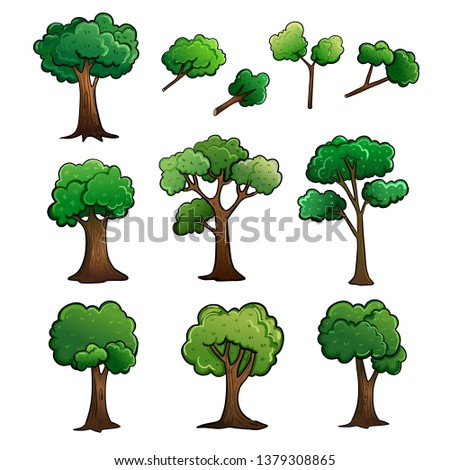 Tree and stem cartoon drawing vector illustration design with fresh green leaves. #1379308865