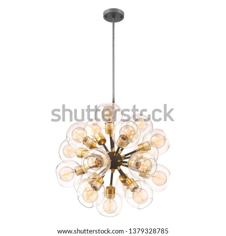 18-Light Chandelier Isolated on White Background. Ceiling Light Round Pendant Light Fixture. Frosted Glass and Gold Metal Hanging Lights. Pendant Sconce Lighting Lamp #1379328785