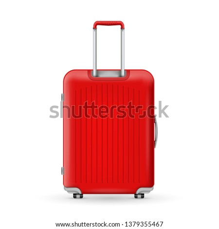 Creative illustration of realistic large polycarbonate travel plastic suitcase with wheels isolated on background. Art design traveler luggage. Abstract concept graphic element #1379355467