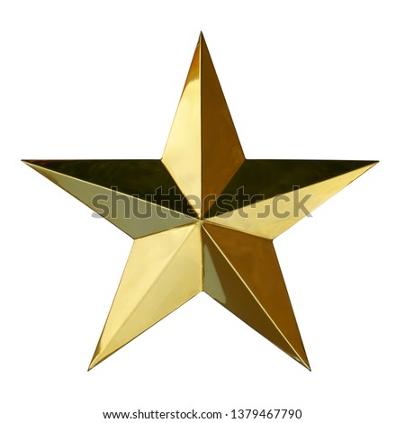 Golden Christmas Star isolated on white background. This has clipping path.                   #1379467790