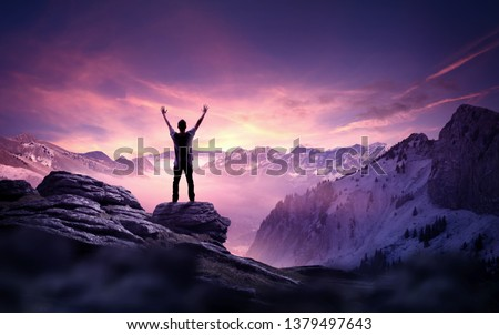 A man standing and reaching up into the sky. Goals, ambition and determination business concept. Photo composite. #1379497643