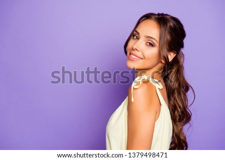 Close-up profile side view portrait of her she nice-looking attractive lovable fascinating magnificent winsome cheerful wavy-haired girl isolated over violet pastel background #1379498471