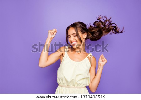 Close up photo of pretty attractive optimistic lovely she her lady raising fists hands up having free freedom inspiration isolated violet background