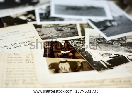 01.31.2019. Genealogy and Family History 2 - Old Photographs and Documents from around 1880-1940 Royalty-Free Stock Photo #1379531933