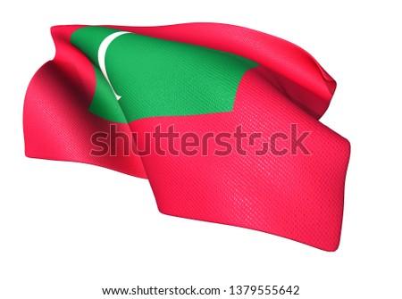 3D illustration of Maldives flag 2:3 #1379555642