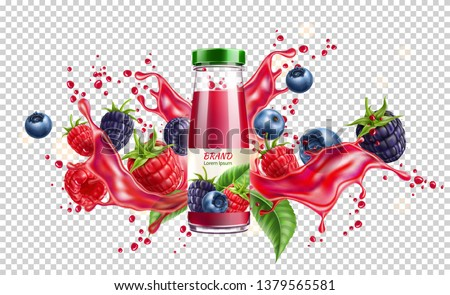 Realistic forest berries juice advertising design with blackberry, blueberry and raspberry in juicy splashing liquid. Forest mix splash for natural healthy product package design. Vector illustration Royalty-Free Stock Photo #1379565581