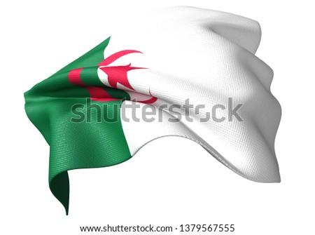 3D illustration of Algeria flag 2:3 #1379567555