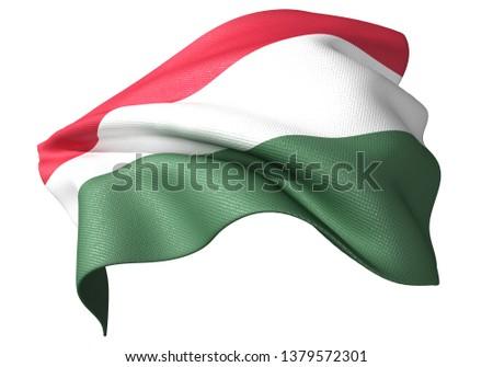 3D illustration of Hungary flag 2:3 #1379572301