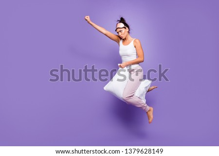 Full length side profile body size photo beautiful she her lady super power flight hold between legs pillow funny satisfied wear sleeping mask pants tank-top pajamas isolated violet purple background #1379628149