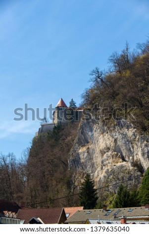 Fortress on the top of the hill, above the lake Bled #1379635040