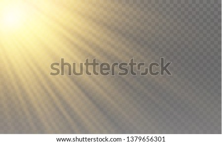 Vector transparent sunlight special lens flash light effect.front sun lens flash. Vector blur in the light of radiance. Element of decor. Horizontal stellar rays and searchlight. #1379656301