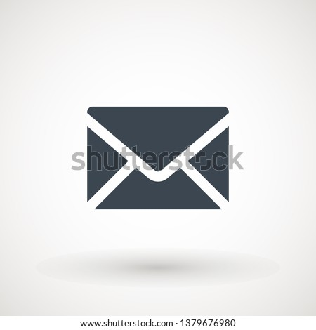 Email icon. Envelope Mail services. Contacts message send letter isolated flat #1379676980