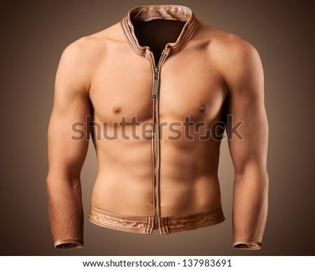 Beautiful male torso in shape of a jacket. Fitness