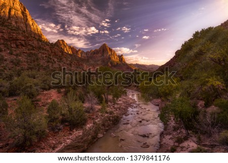 Watchman mountain in Zion national park stands watch over the vista scene where the Virgin river runs peacefully through it. This amazing scene shows natures perfection in Utah near Nevada. #1379841176