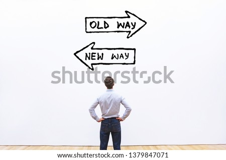old way vs new way, improvement and change management business concept Royalty-Free Stock Photo #1379847071