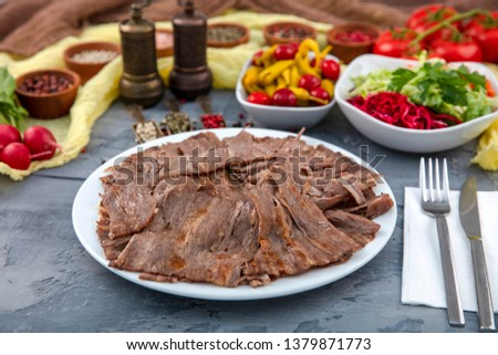 Turkish Doner Kebab on plate. Arabic traditional doner with pita bread / lavash. Protein nutrition, clean eating, diet concept. Turkish, greek or middle eastern style doner kebab food restaurant. #1379871773