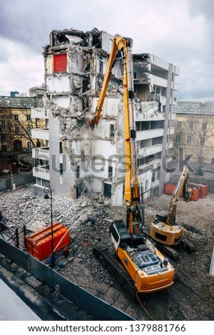 House/ building demolition Royalty-Free Stock Photo #1379881766