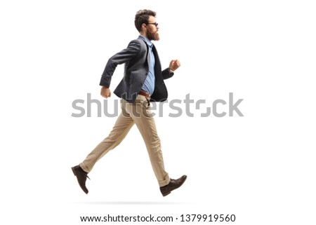 Full length shot of a bearded man in formal clothes running isolated on white background #1379919560