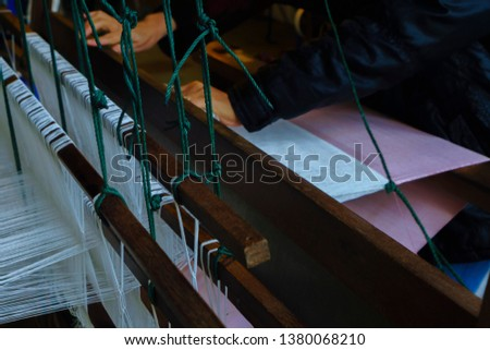 Weaving machine, Household weaving, use for weaving traditional Thai silk. Textile production in Thailand #1380068210