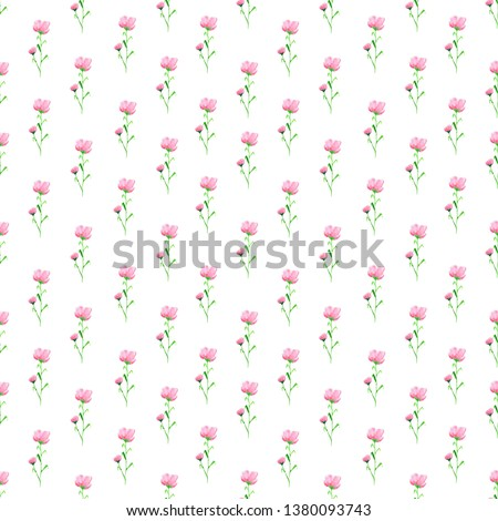 Cute seamless floral pattern. Textile ornament. Watercolor seamless pattern of small pink wildflowers for fabric and paper. #1380093743