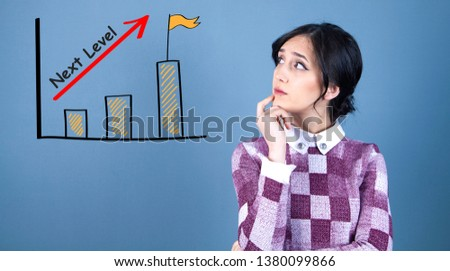 Next level concept with a young business woman with a thoughtful face #1380099866