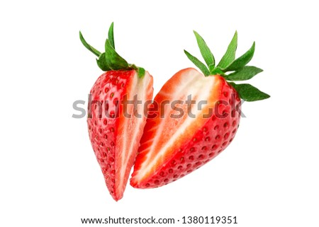 Strawberry. Cut strawberries into pieces. Strawberry slices flying in the air. Fresh natural strawberry isolated .  #1380119351
