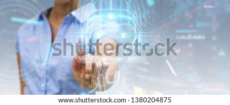 Woman on blurred background using digital artificial intelligence head interface 3D rendering #1380204875