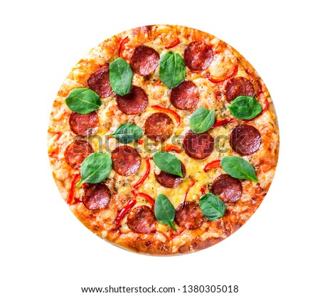 Pepperoni Pizza with Mozzarella cheese, salami, pepper, Spices and Fresh spinach. Italian pizza isolated on white background. with copy space. top view #1380305018