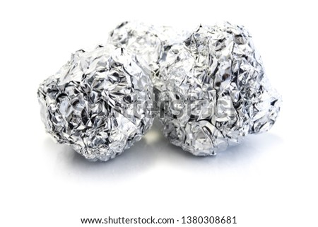 Aluminum foil ball isolated on white background #1380308681