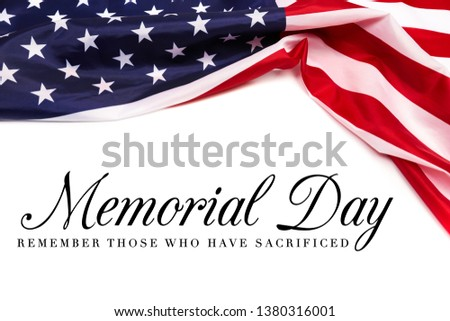 Text Memorial Day on American flag background - Image