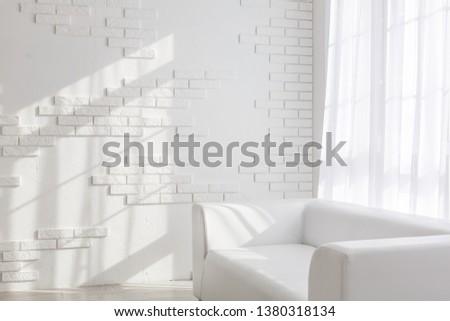 interior, leather sofa in white room #1380318134
