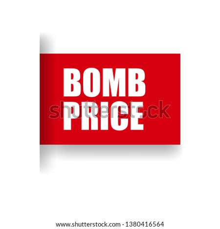 red vector banner bomb price #1380416564